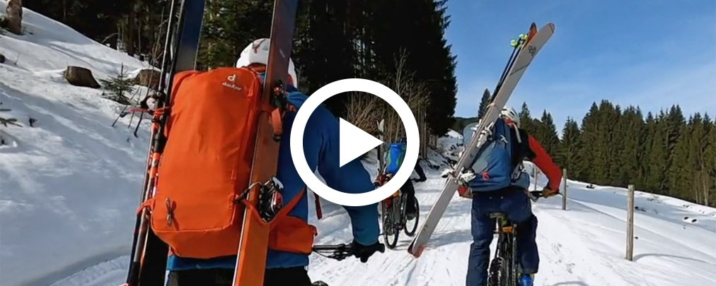 Auf Skitour im Allgäu mit dem E-Bike.