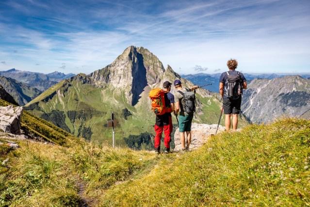 Die Höfats dominiert den Blick vom Hornbachjoch.