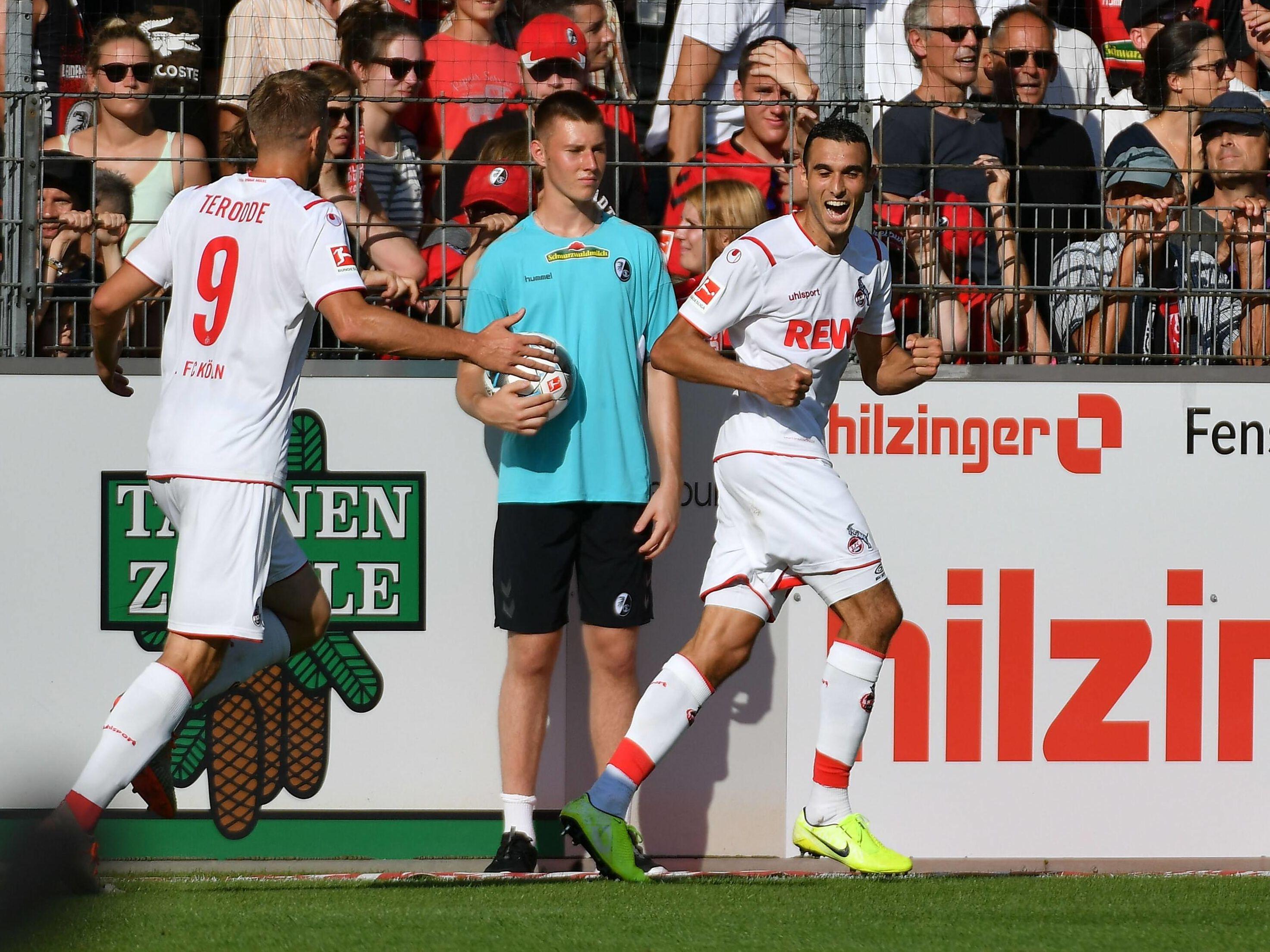 Jubel in der Nachspielzeit: Kölns Skhiri macht das 2:1 in Freiburg.