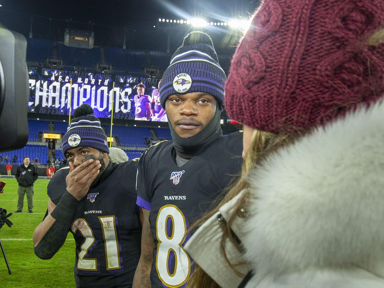 Mark Ingram und Lamar Jackson spielen bei den Baltimore Ravens.