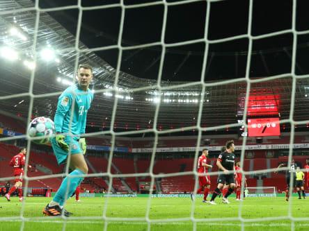 Manuel Neuer had no chance against Patrik Schicks volley in Leverkusen.