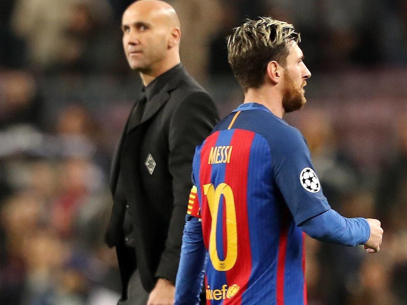 Andre Schubert (links) und Lionel Messi