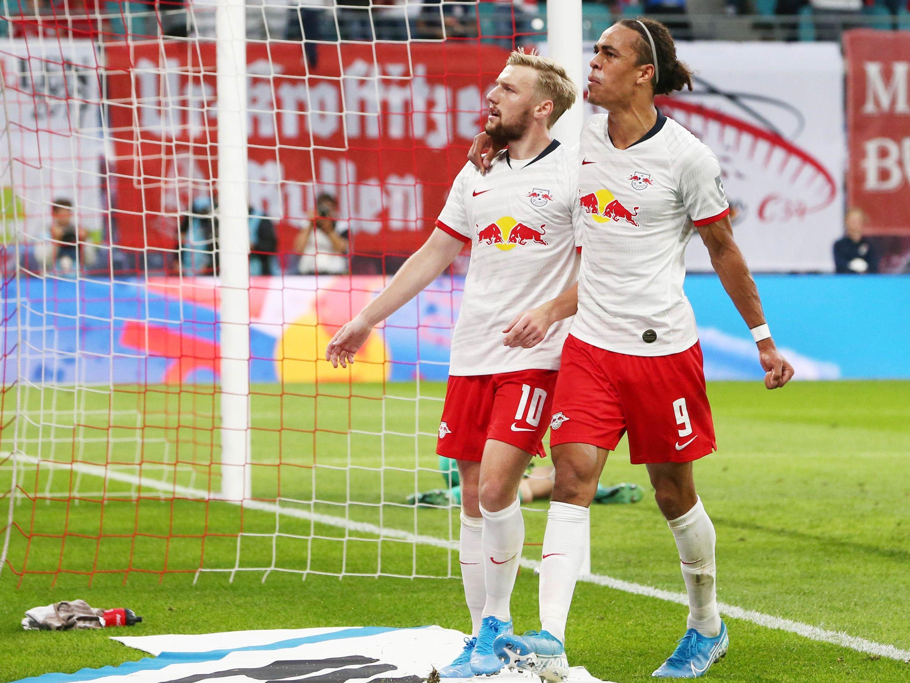 Emil Forsberg (links) und Yussuf Poulsen