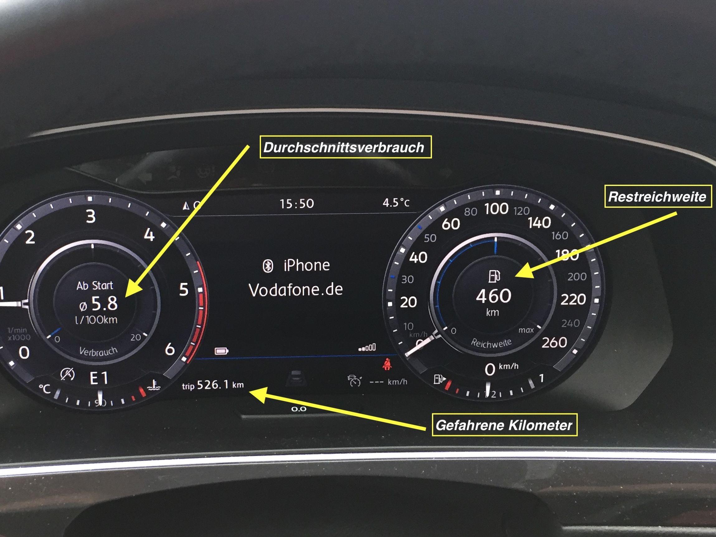 Verbrauchsanzeige VW Tiguan