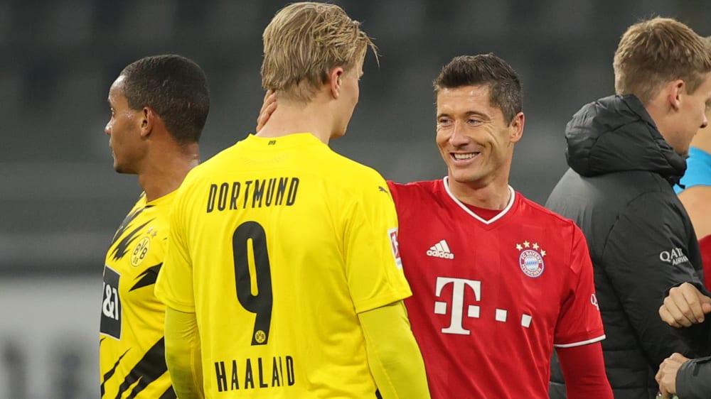 Ganz oben in der Bundesliga-Schützenliste und gemeinsam in der ESM-Elf November: Erling Haaland und Robert Lewandowski (re.).