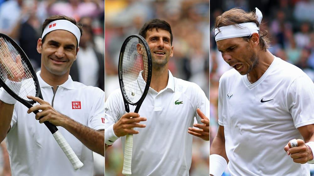 Alle drei haben das Halbfinale im Blick: Roger Federer, Novak Djokovic und Rafael Nadal.