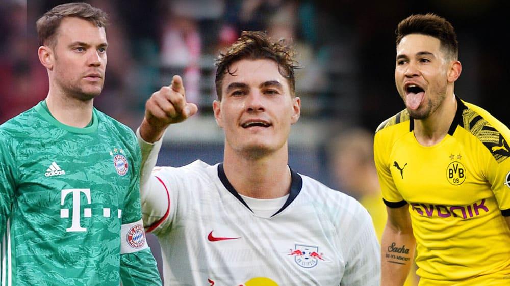 Manuel Neuer, Patrik Schick und Raphael Guerreiro (v.l.)