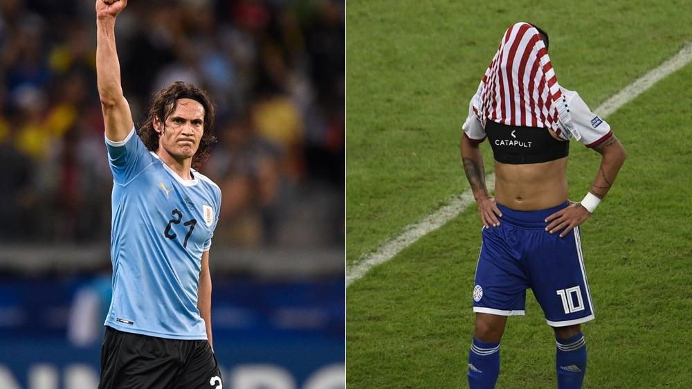 Zwei Traumtore, zwei Gefühlswelten: Edinson Cavani (li.) und Derlis Gonzalez zum Auftakt der Copa America.