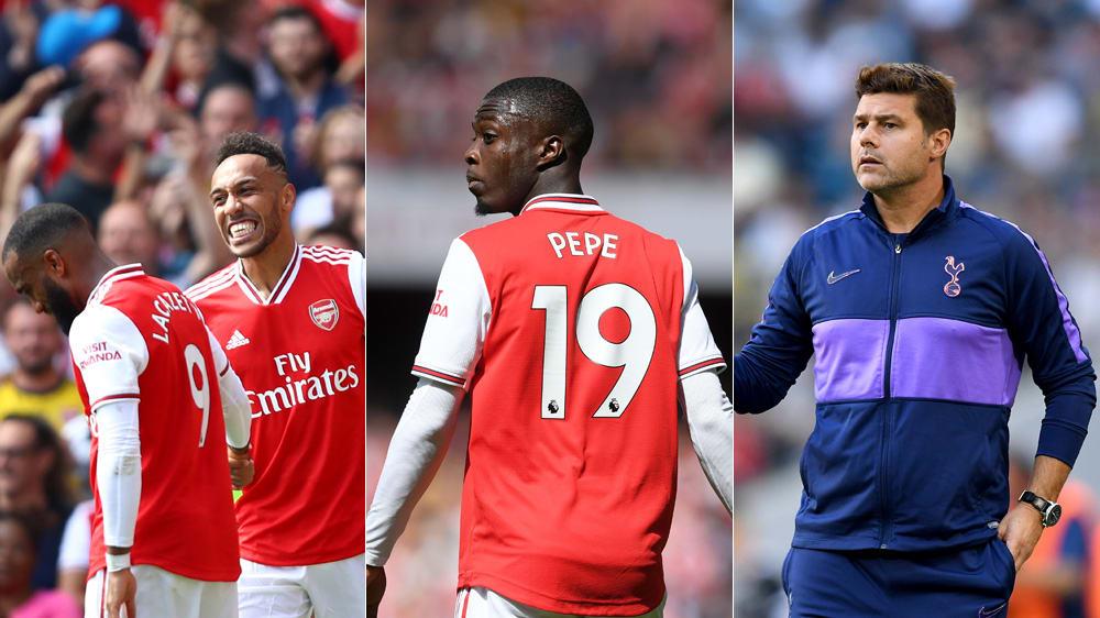 Alexandre Lacazette, Pierre-Emerick Aubameyang und Nicolas Pepé könnten gegen Tottenham gemeinsam starten - Mauricio Pochettino wird auch nach dem Derby Spurs-Trainer bleiben.