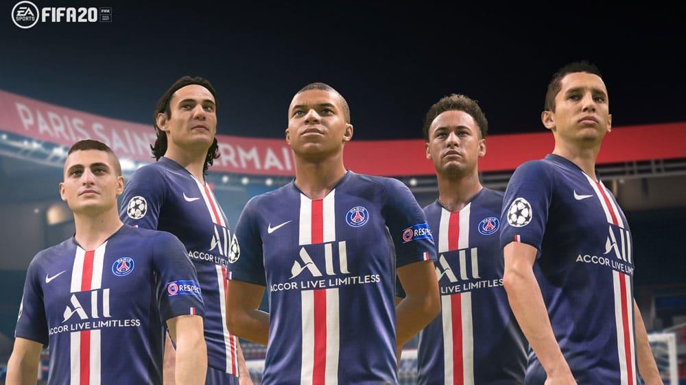 PSG mit den neuen Trikots in FIFA 20: (v.l.) Marco Verratti, Edinson Cavani, Kylian Mbappé, Neymar Jr. und Ángel Di María.