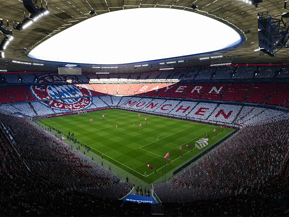 Aufwendig eingescannt und abgebildet: Die Allianz-Arena in PES 2020