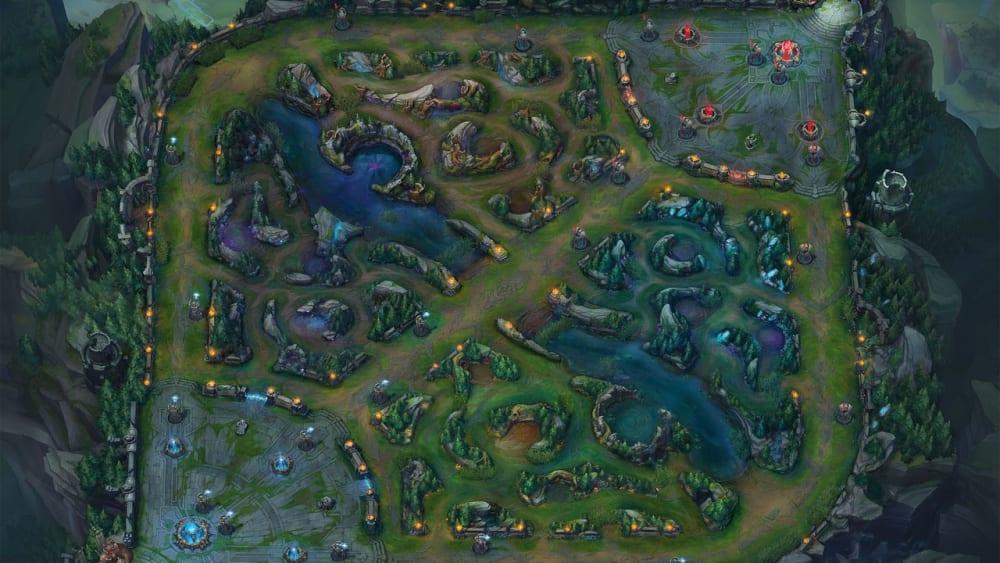 Die klassische 5 vs. 5 Map von LoL mit drei Lanes: Kluft der Beschwörer