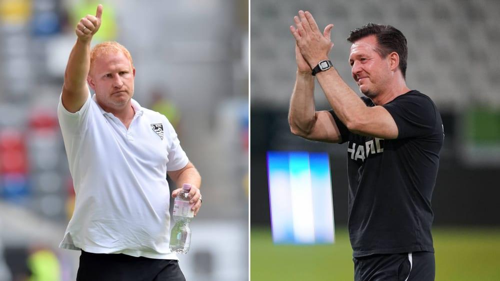 Auf Augenhöhe: Uerdingens Coach Heiko Vogel (li.) und Christian Titz von Essen.