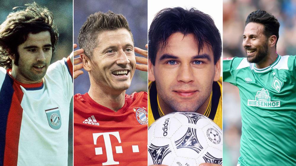 Gerd Müller, Robert Lewandowski, Mario Gomez (v.l.)