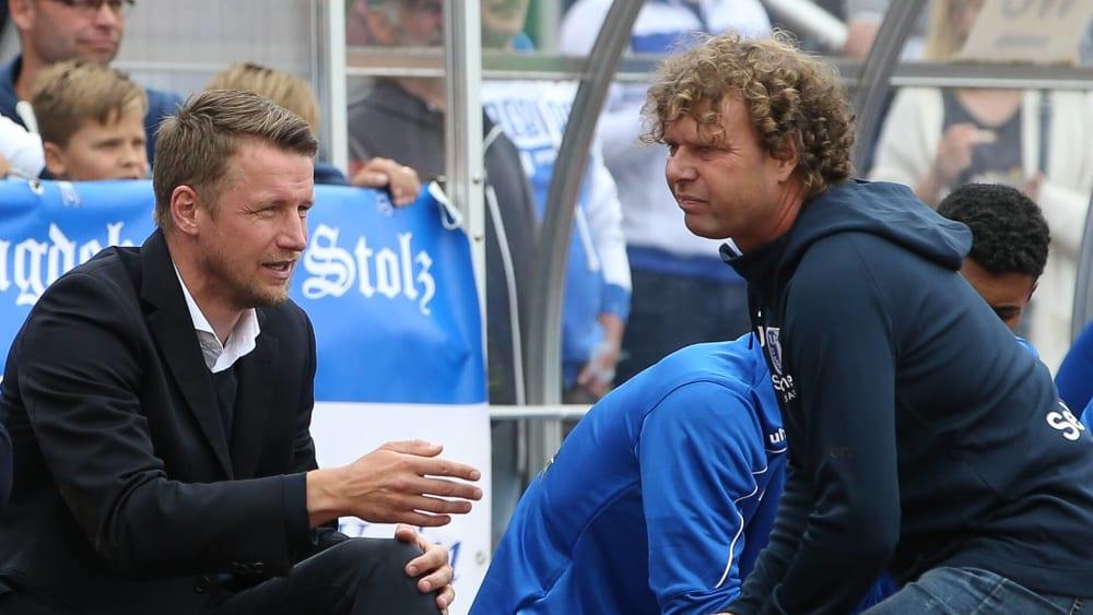 Haben nach dem Fanabend wieder einiges zu besprechen: FCM-Manager Maik Franz (links) und Trainer Stefan Krämer