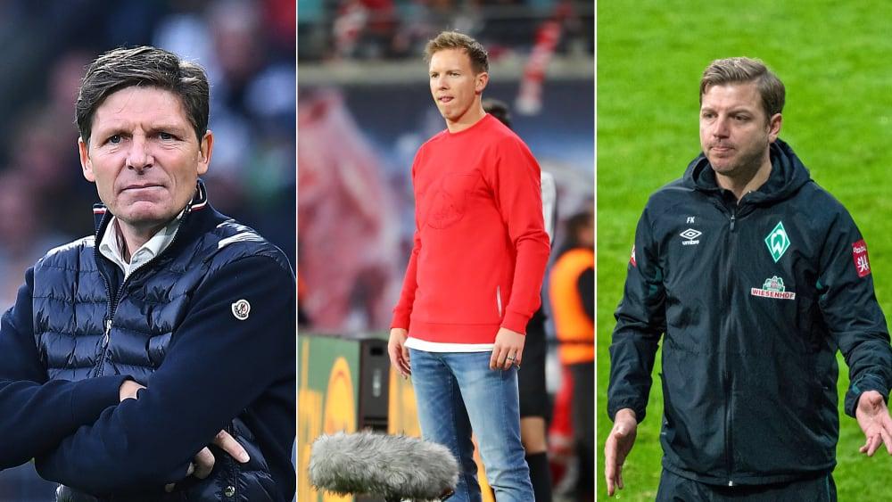 Oliver Glasner, Julian Nagelsmann und Florian Kohfeldt sind Bundesliga-Trainer