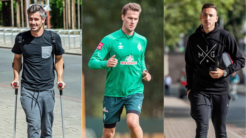 Zwei in zivil, einer im individuellen Training: Die Bremer Fin Bartels, Sebastian Langkamp und Kevin Möhwald (v. li.).