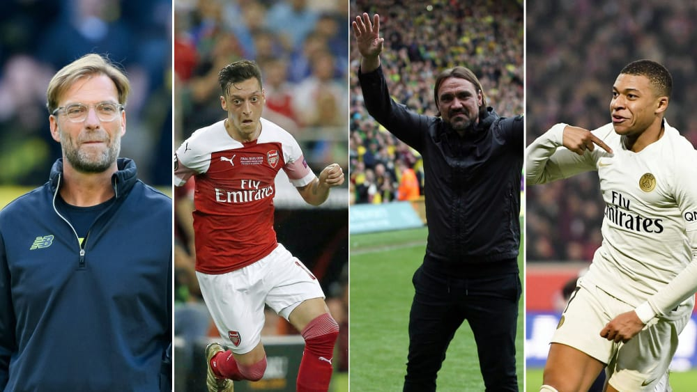 Jürgen Klopp, Mesut Özil, Daniel Farke und Kylian Mbappé