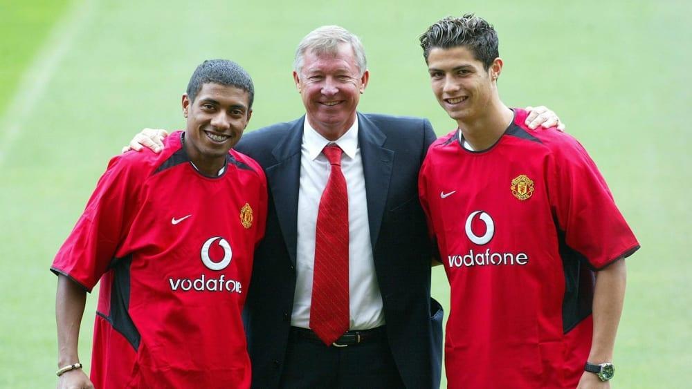 Vorstellung im Old Trafford: Kleberson (li.) 2003 mit Sir Alex Ferugson und Cristiano Ronaldo.
