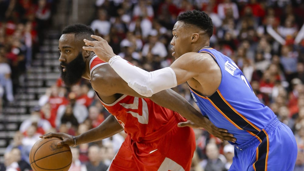 James Harden und Russell Westbrook (re.)