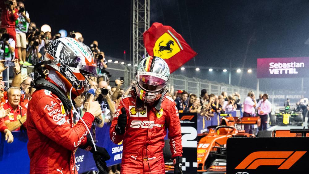 Feuer unterm Dach: Die Ferrari-Piloten Sebastian Vettel (re.) und Charles Leclerc.
