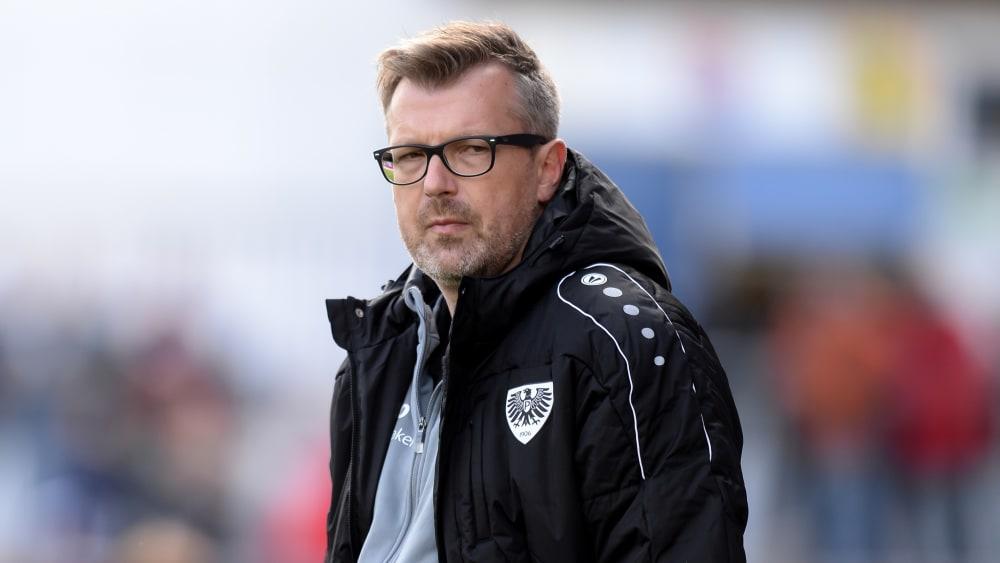 Sieht trotz des Achtungserfolgs in Unterhaching weiter viel Arbeit auf sich zukommen: Preußen Münster-Coach Sven Hübscher.