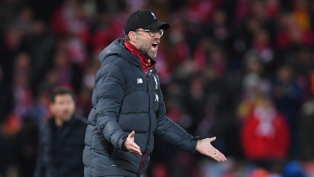 Jürgen Klopp ärgert sich während des Champions-League-Achtelfinales gegen Atletico Madrid