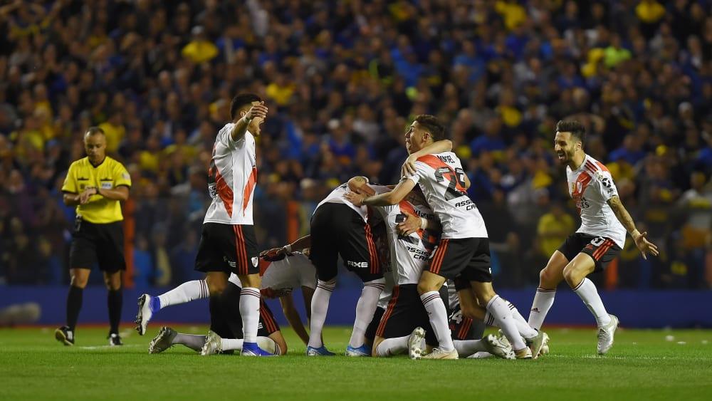 Grenzenloser Jubel: River Plate feiert den abermaligen Einzug ins Endspiel der Copa Libertadores.