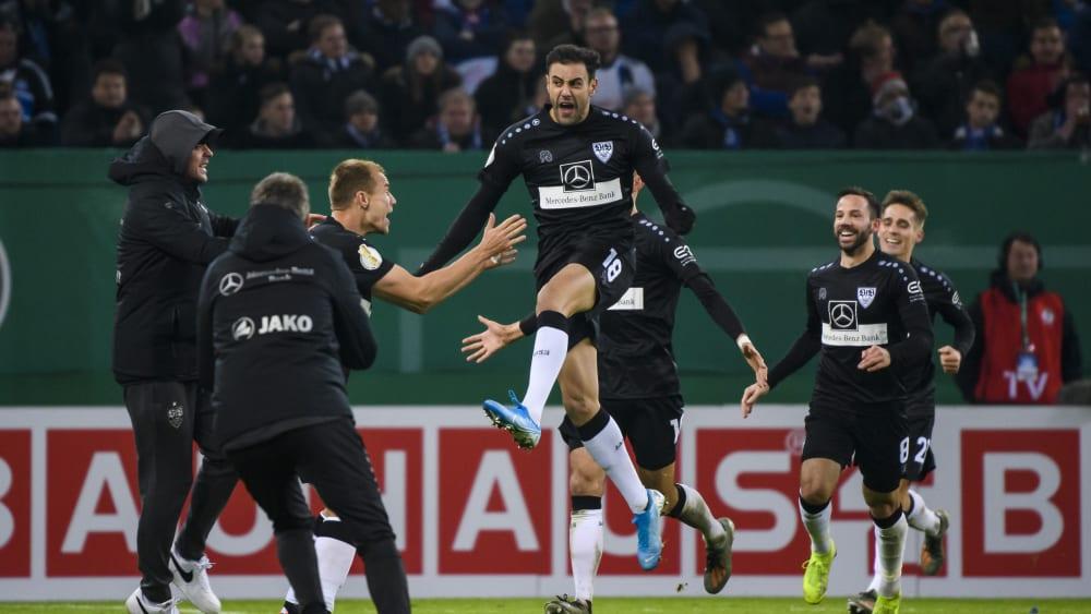 Freudentaumel: Nach der 2:6-Abreibung in der Liga kegelte der VfB Stuttgart den HSV aus dem Pokal.