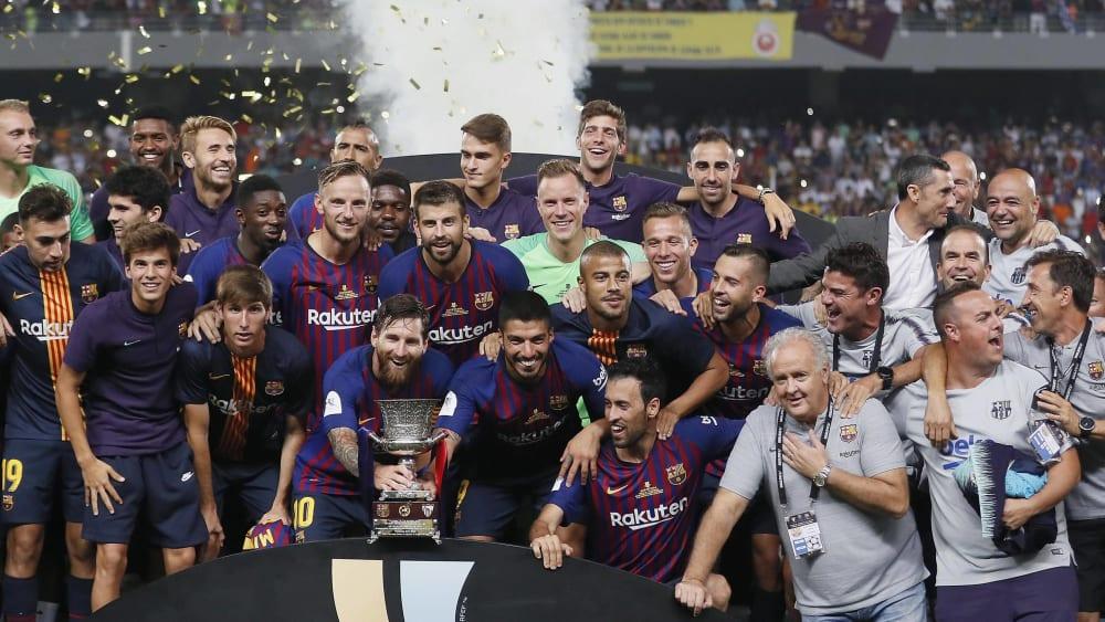 Titelverteidiger: Im August 2018 gewann der FC Barcelona die bislang letzte Austragung des Supercups.