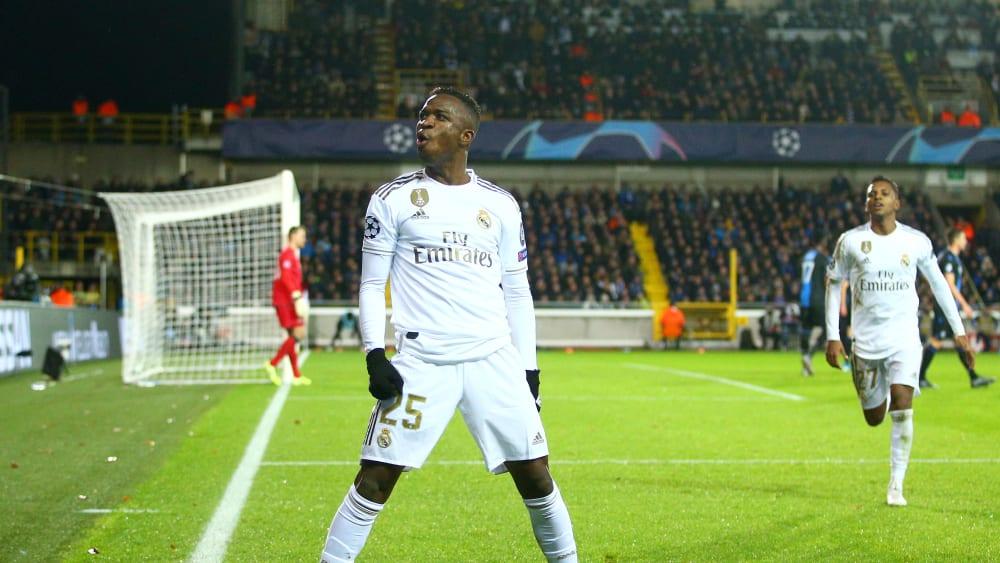 Vinicius bejubelt seinen Treffer zum 2:1 für Real Madrid