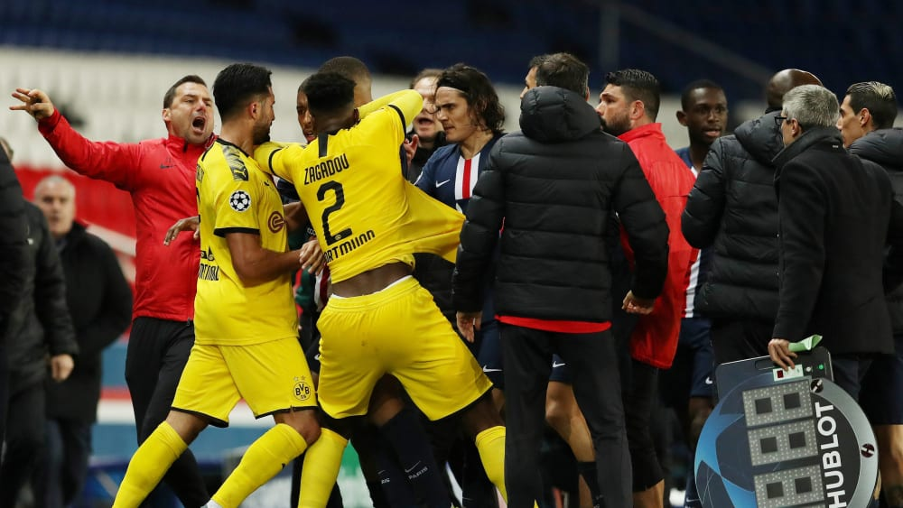 Aus mit Emotionen: Rudelbildung kurz vor dem Abpfiff bei Paris' 2:0-Sieg gegen Dortmund am Mittwoch.