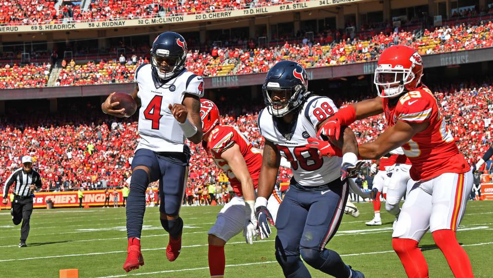 Lief zweimal selbst in die Endzone: Texans-Quarterback: Deshaun Watson (#4).