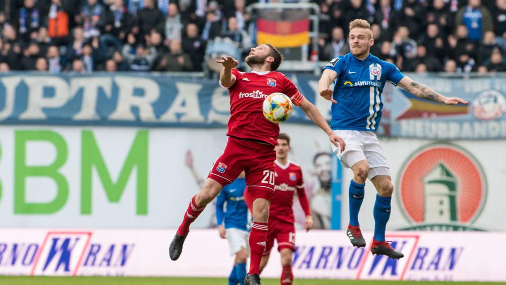 Trennten sich mit 1:1: Rostock und Unterhaching