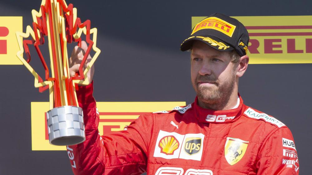 Konnte sich auf dem Podium in Kanada überhaupt nicht freuen: Ferrari-Pilot Sebastian Vettel.