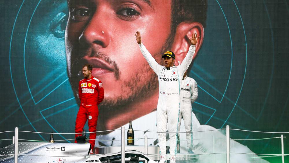 Nur Zweiter: Lewis Hamilton und Mercedes sind eine Nummer zu groß für Sebastian Vettel und Ferrari.