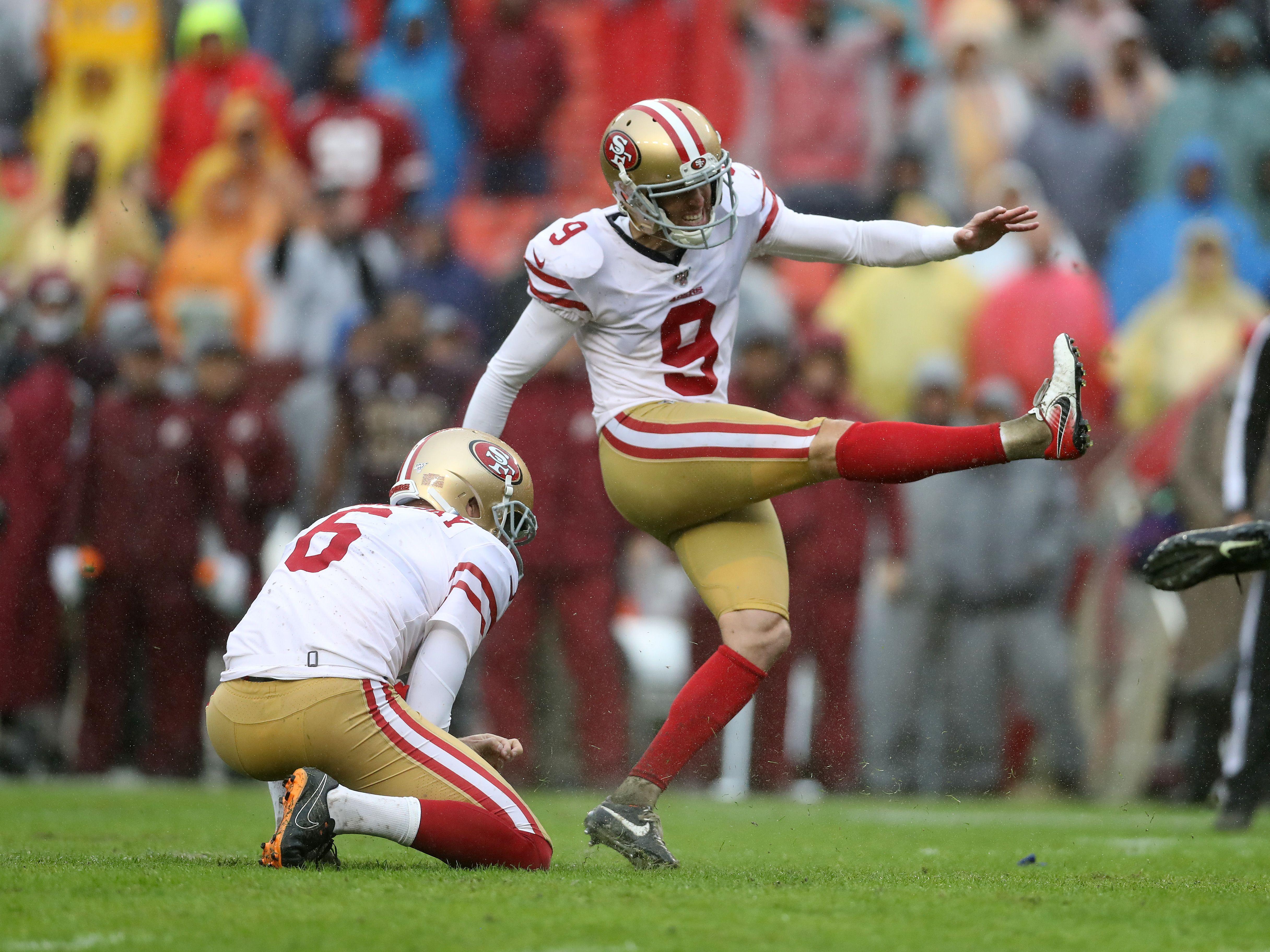 49ers-Kicker Robbie Gould (rechts)