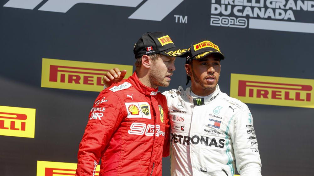 Podium: Sebastian Vettel (li.) fuhr als Erster ins Ziel, Lewis Hamilton aber gewann den Grand Prix von Kanada.