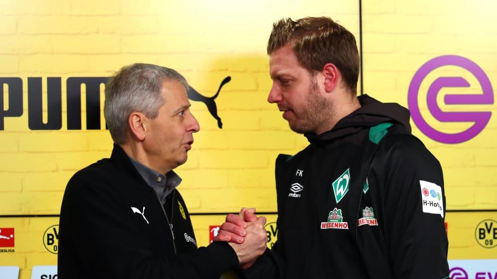 Man schätzt sich: Lucien Favre (li.) und Florian Kohfeldt.