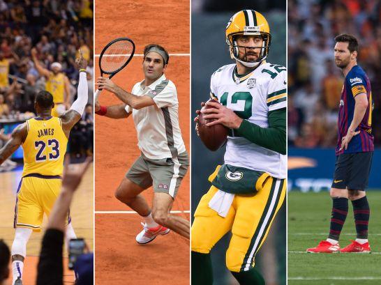 Sie schafften es in die Top 15 der Großverdiener: James, Federer, Rodgers und Messi.