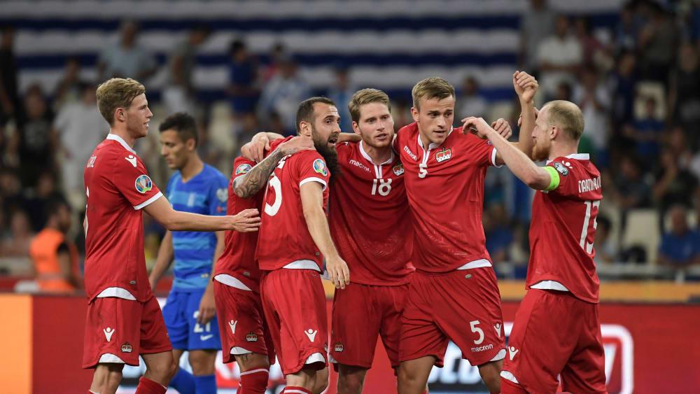 Großer Jubel: Ein später Treffer verhalf Liechtenstein zum ersten Tor und Punkt.