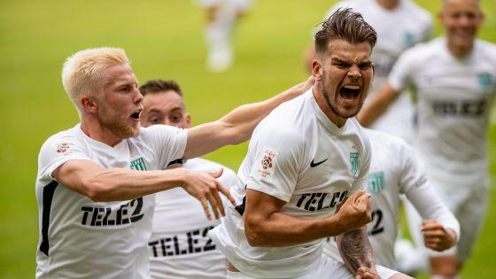 Pure Freude: Flora Tallinn setzte sich in der ersten Runde der EL-Quali durch - und trifft nun auf Eintracht Frankfurt.