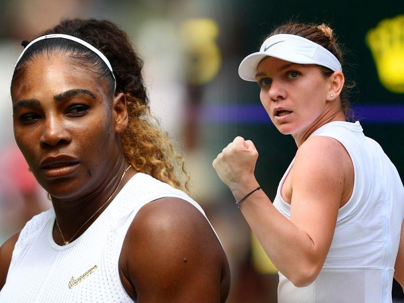 Serena Williams und Simona Halep (r.)