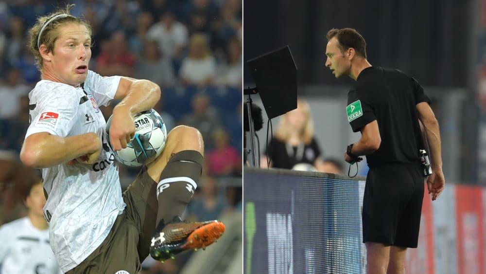 Daniel Buballa springt der Ball an den Arm, Referee Bastian Dankert überprüft die Szene