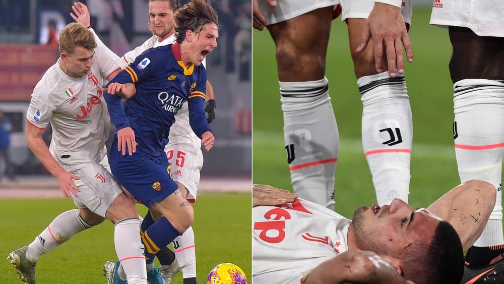 Zogen sich im Spiel zwischen der AS Roma und Juventus Turin (1:2) schwere Verletzungen zu: Nicolo Zaniolo (in blau, links) und Merih Demiral (am Boden, rechts).