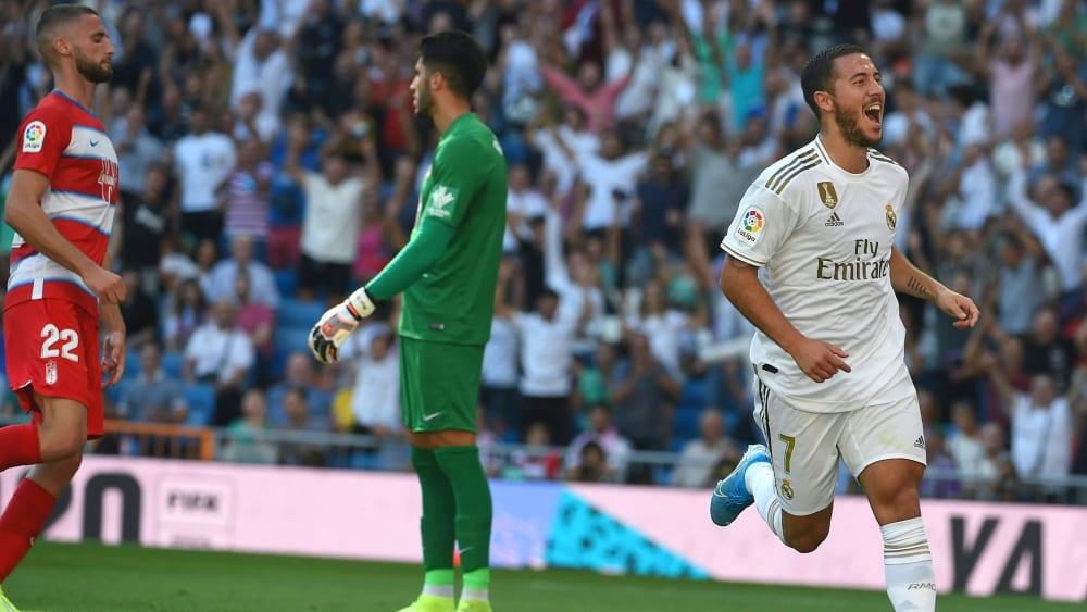 Premiere: Eden Hazard traf erstmals für Real Madrid.