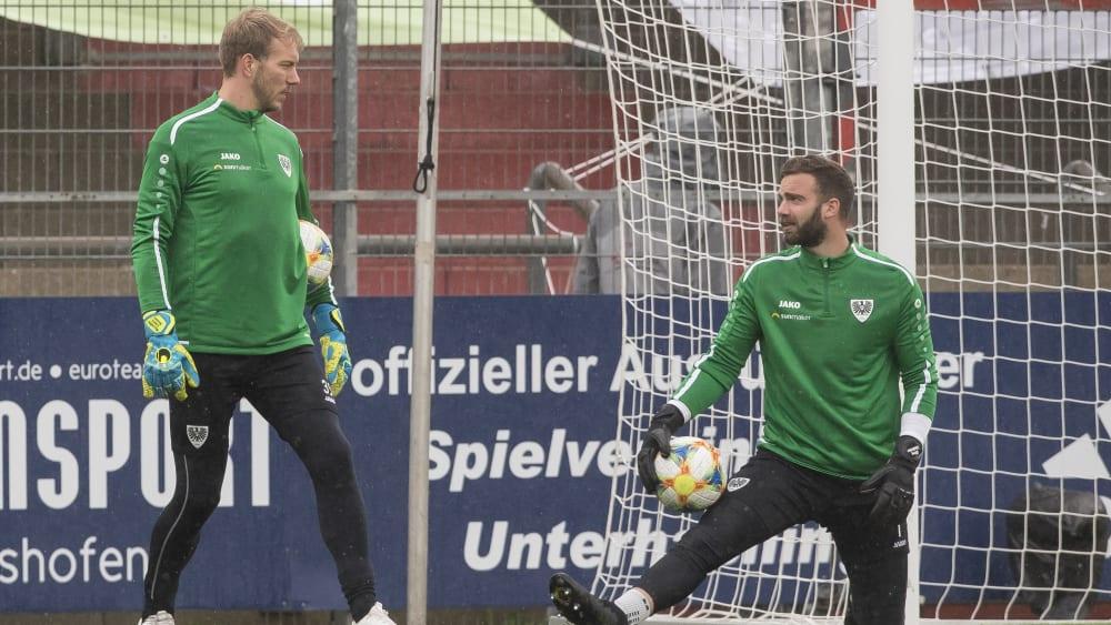 Die Torhüter von Preußen Münster beim Training: Maximilian Schulze Niehues (links) und Oliver Schnitzler (rechts).