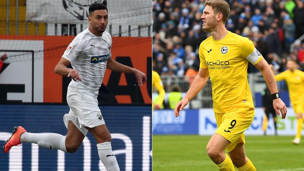 Sandhausens Aziz Bouhaddouz (l.) und Bielefelds Fabian Klos trafen am Sonntag jeweils doppelt