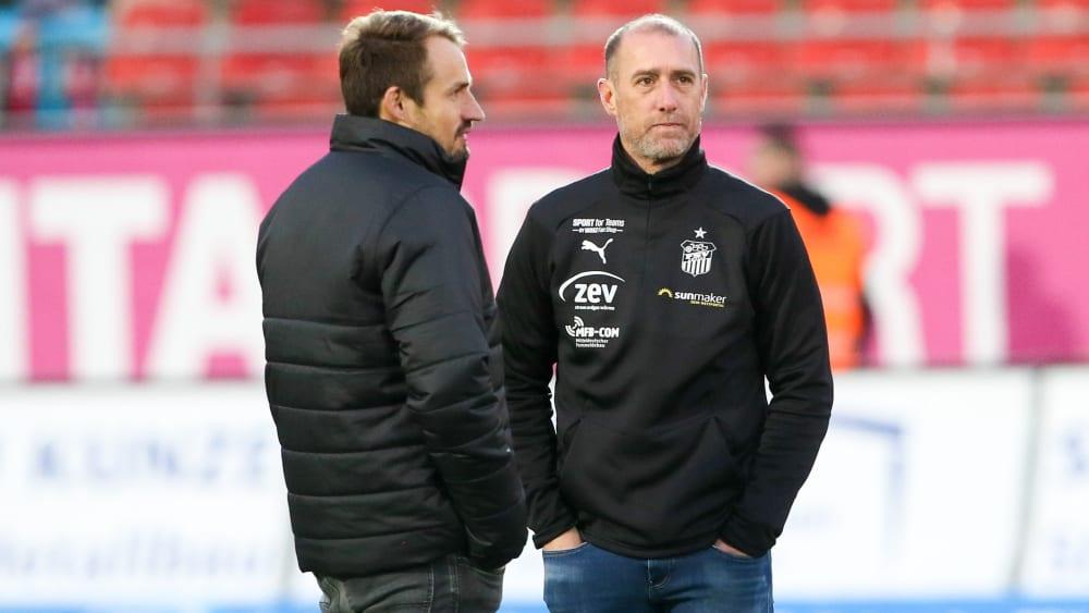 FSV Zwickau-Sportchef Toni Wachsmuth (li.) und Coach Joe Enochs.