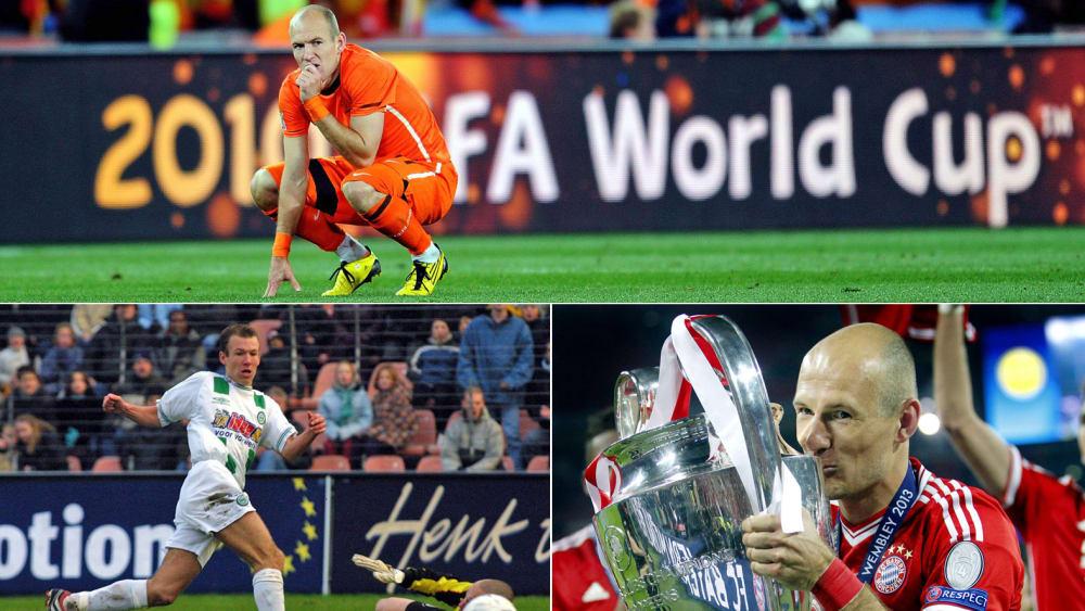 Arjen Robben nach dem verlorenen WM-Finale 2010 (oben), bei einem Tor für Groningen (unten li.) und mit dem Henkelpott 2013